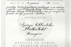 Orden zasluga za narod - srebrena zvijezda